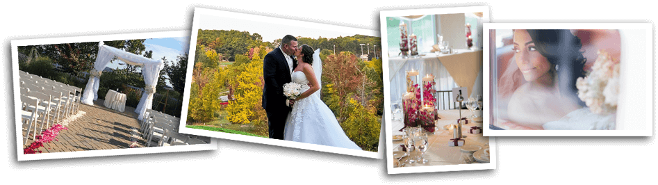 collage of four photos. Outdoor wedding ceremony setup, bride and groom kissing on top of a hill with fall foliage background,  banquet tables set with candle and flower centerpieces,  bride looking window
