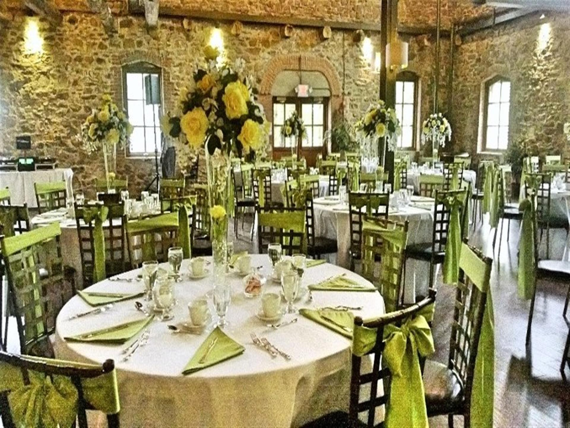 banquet tables inside brotherhood winery