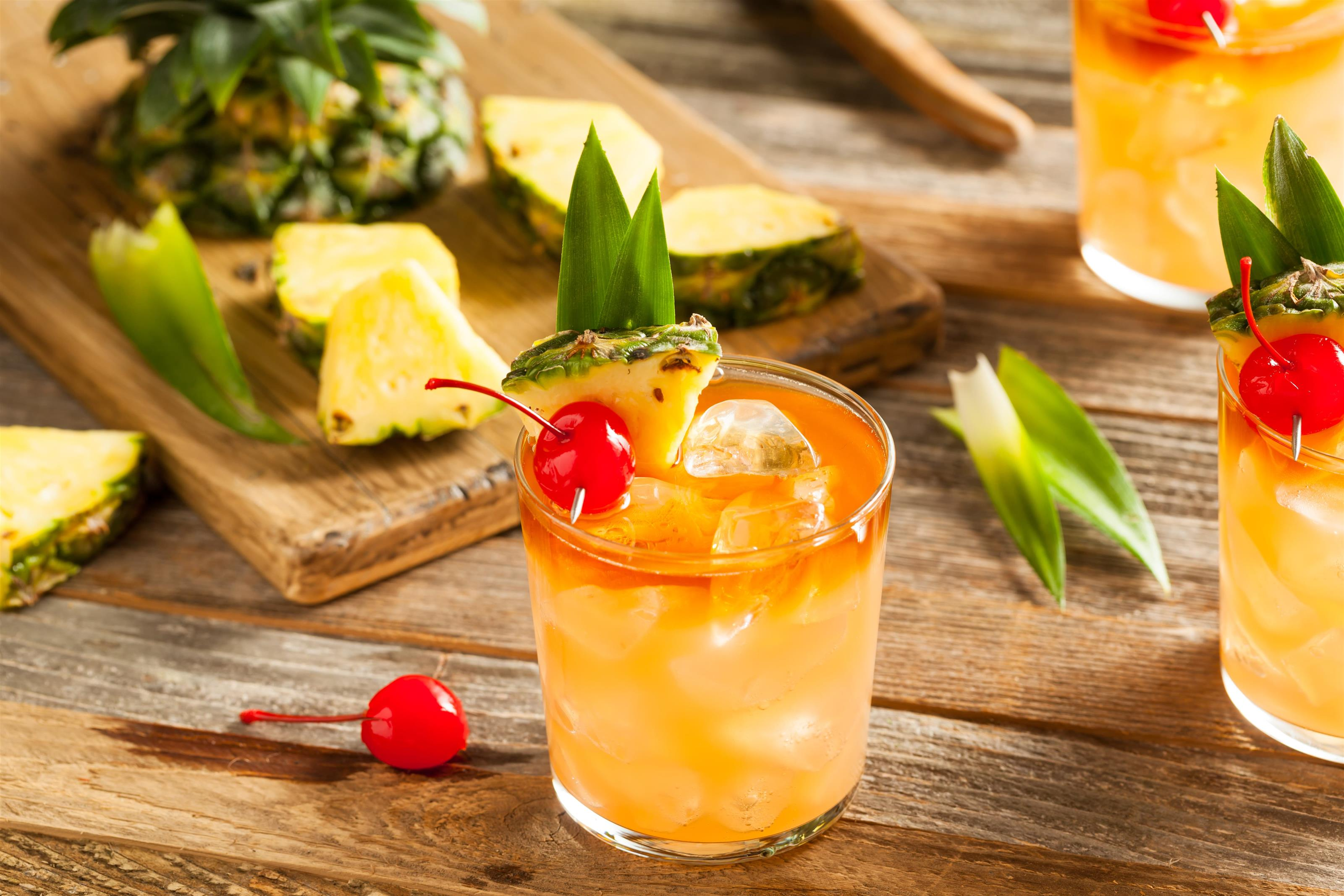 Tropical Cocktail with pineapple and cherry