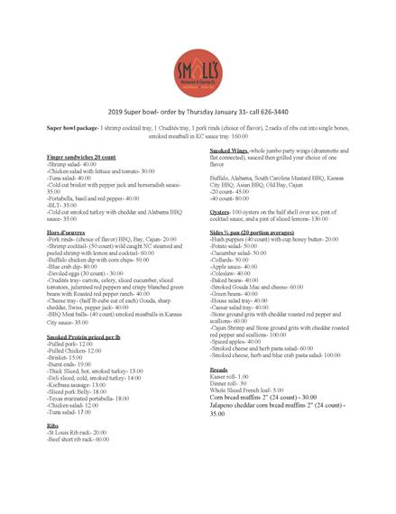 Small's Restaurant & Catering Co Super Bowl Sunday Catering Menu