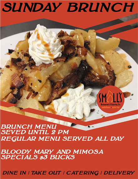 Sunday Brunch. Brunch menu served until 2pm. Regular menu served all day. Bloddy mary and mimosa specials $3.