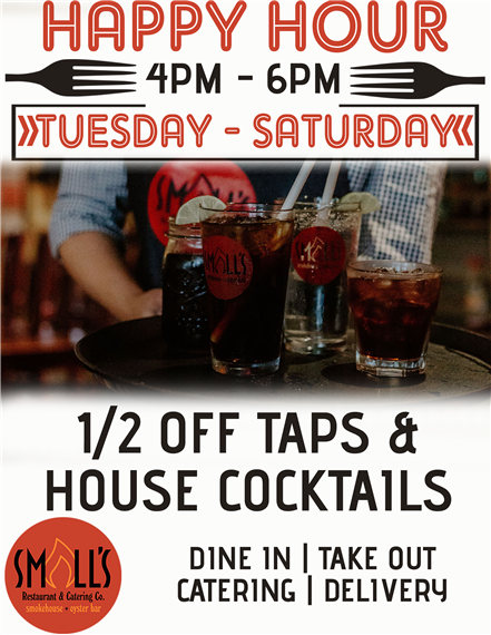 Happy Hour, Tuesday -  Saturday, 4pm - 6pm. half off taps and house cocktails.