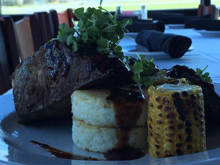 steak with rice and corn
