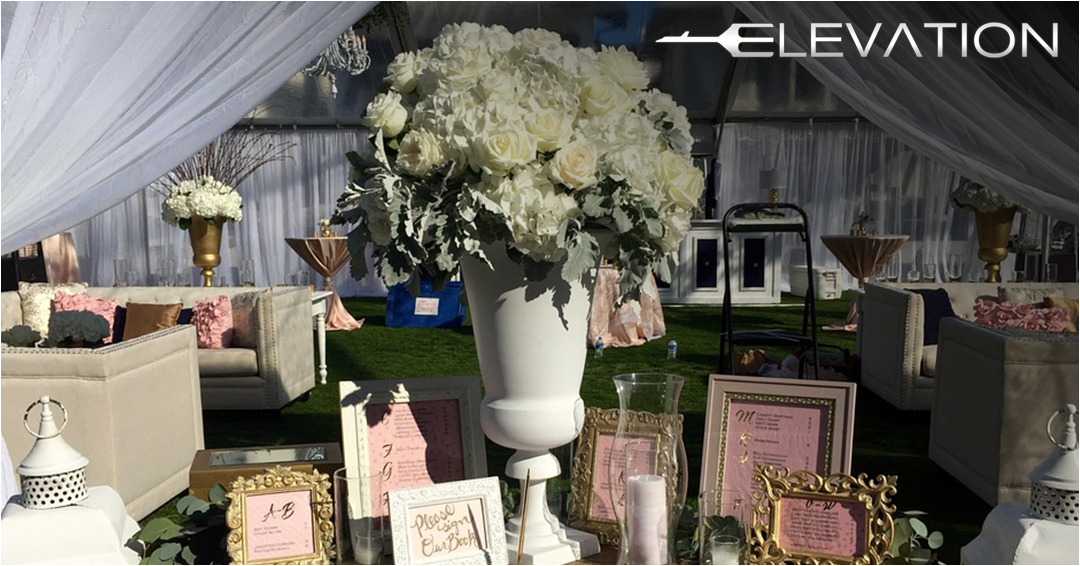 large display of flowers and picture frames on a table outside