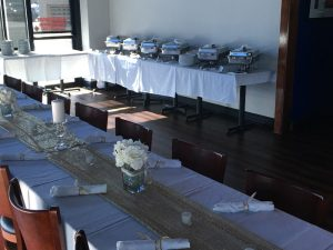 interior table settings and catering buffet display