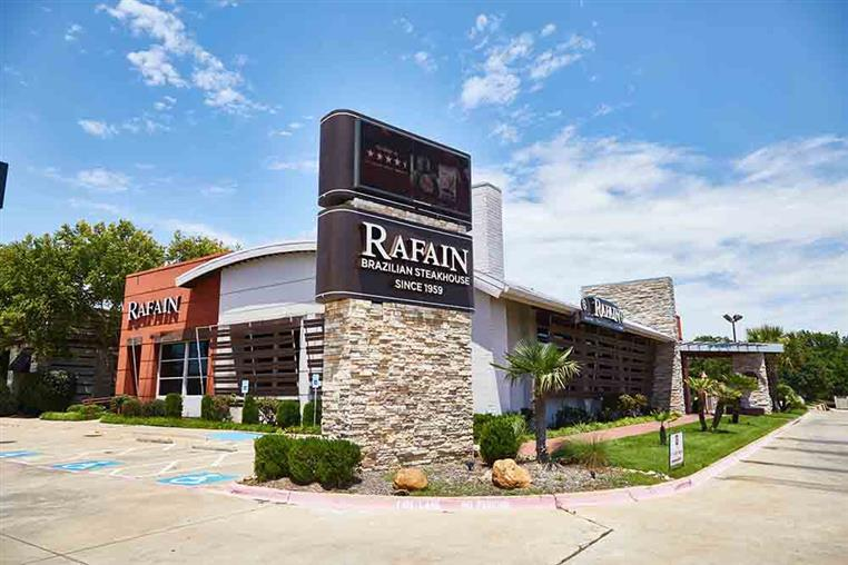 Rafain ground sign and restaurant- view from parking lot