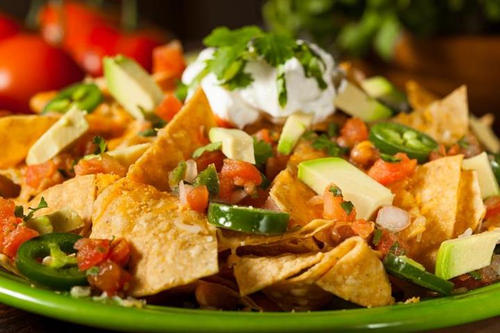 Nachos with pico, jalapenos, sour cream