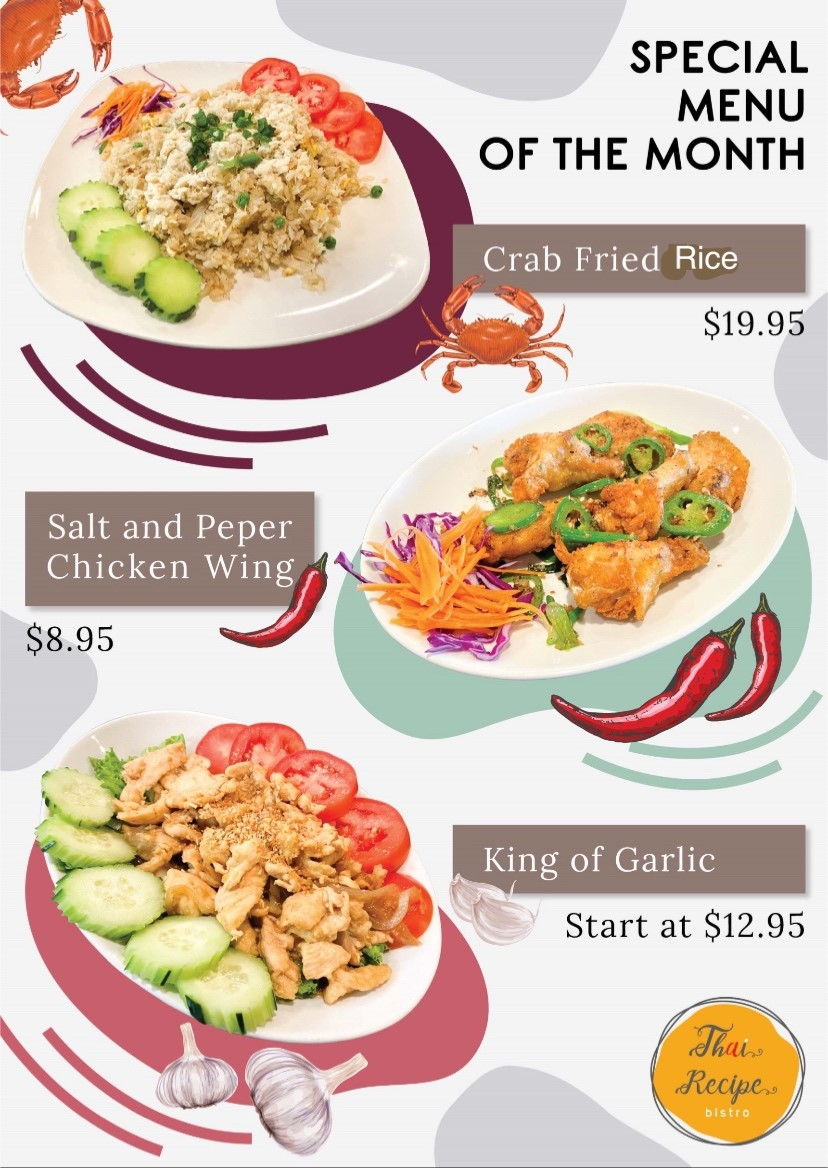 Special Menu of the month | Crab Fried rice 19.95 | Salt and pepper chicken wing 8.95 | King og garlic, start at 12.95