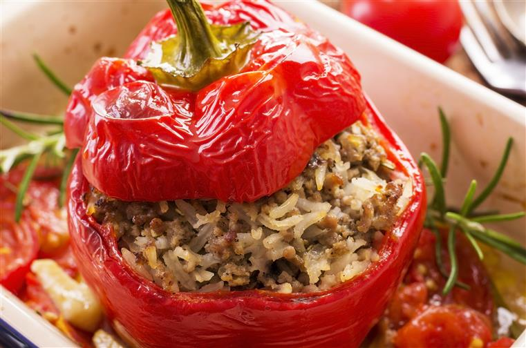 stuffed pepper with rice and meat