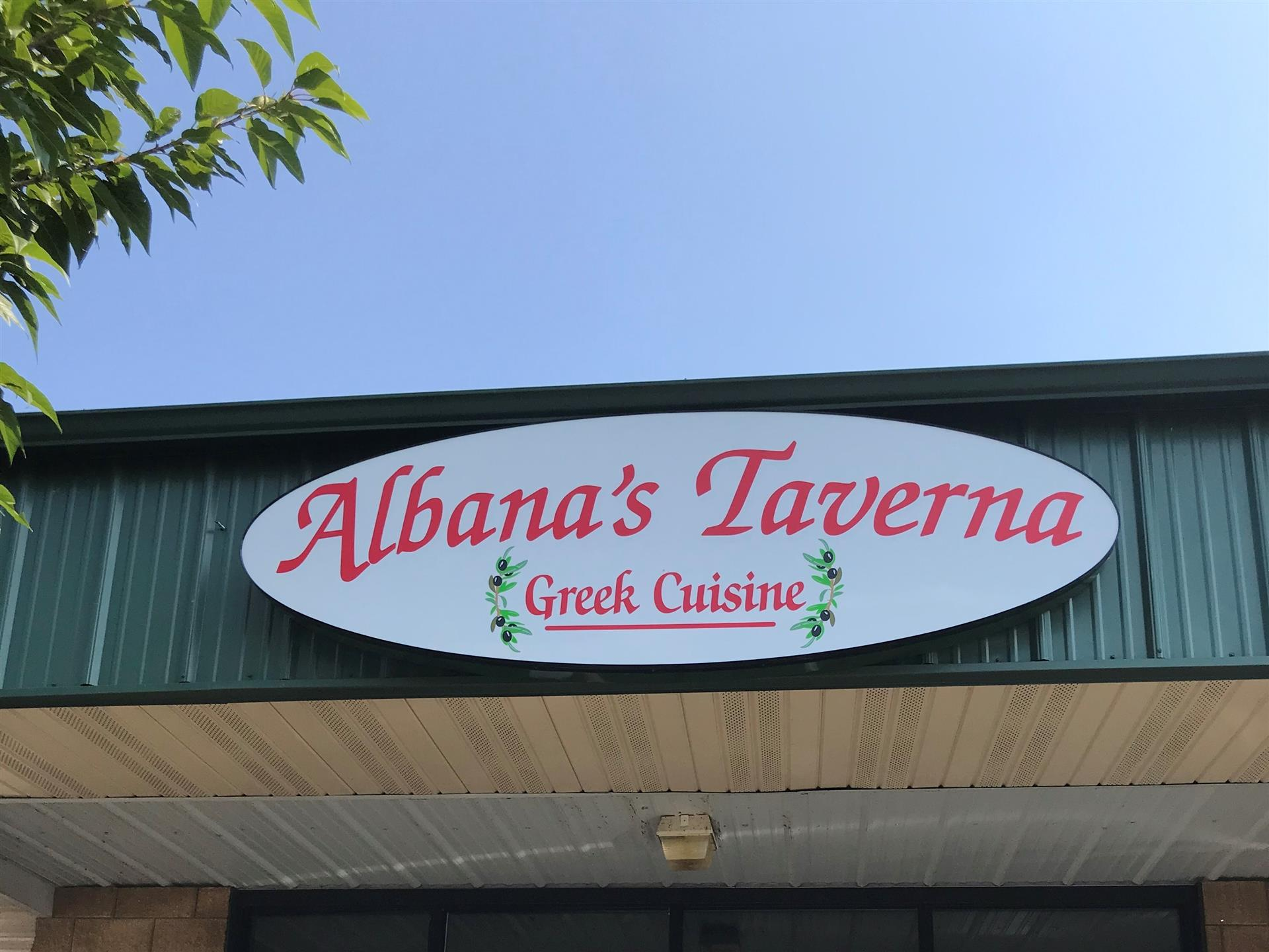 Albana's Taverna greek cuisine sign over storefront