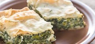 Spanakopita sliced open