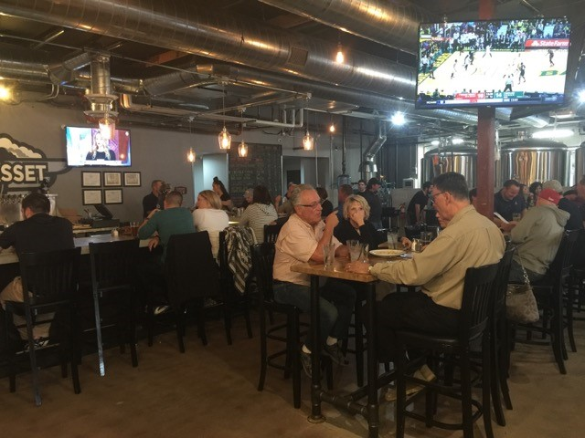 inside the dining area of flying basset brewing