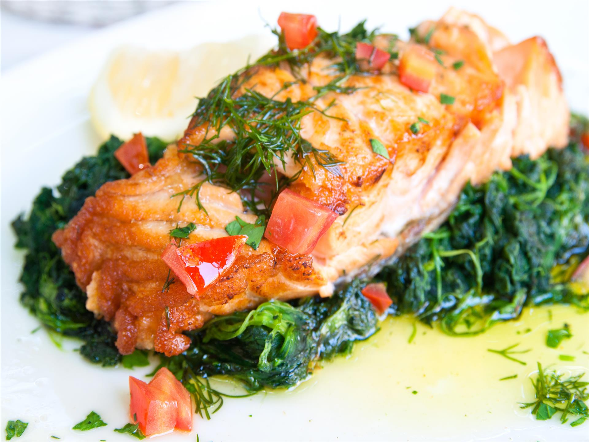 Pan seared salmon on a bed of cooked spinach with herbs and tomatoes on top