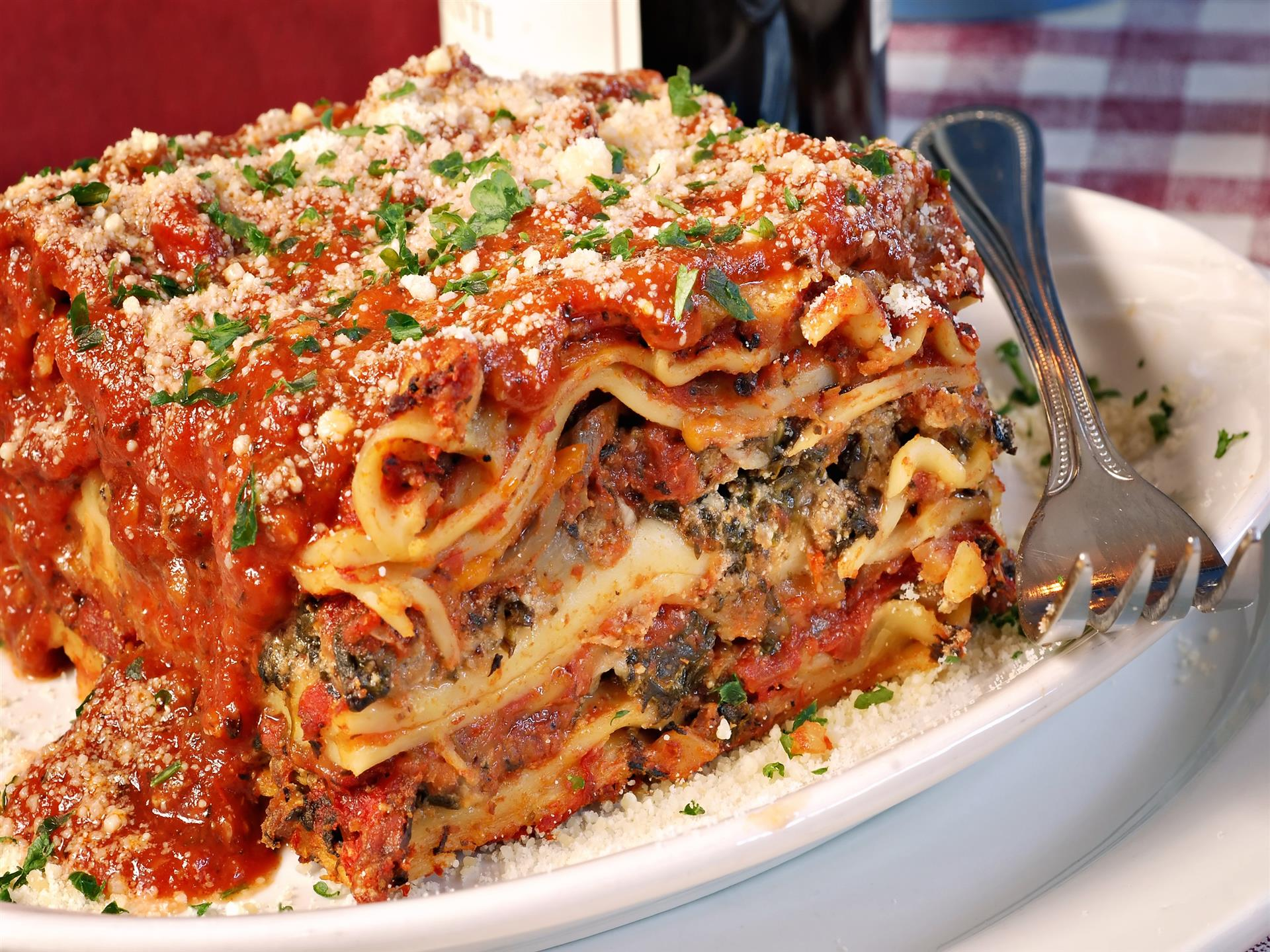 Meat stuffed lasagna with parmesan cheese sprinkled on top and sauce poured over it