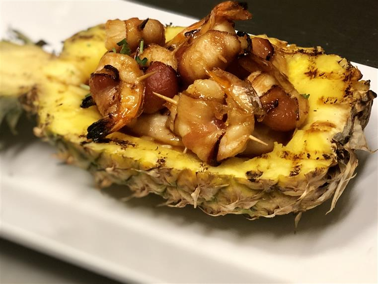 Shrimp in a pineapple bowl
