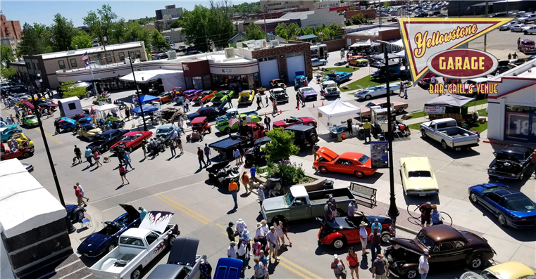 Car show  with dozens of old fashion, muscle, and tricked out cars