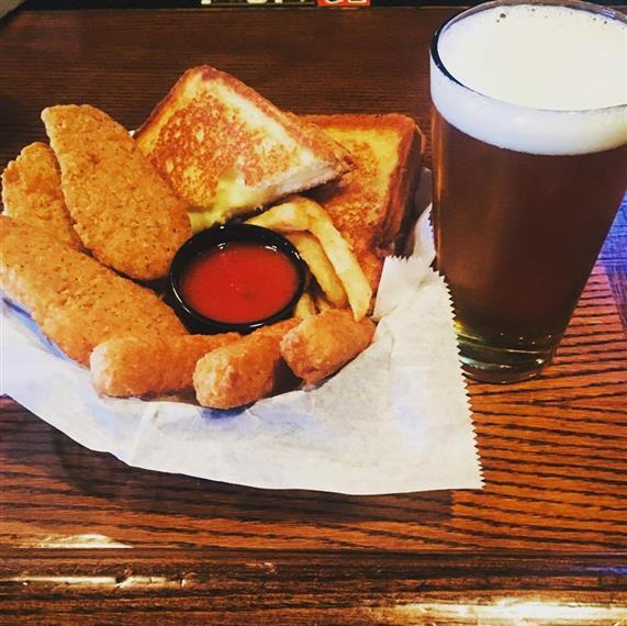 Basket of chicken fingers, Mozzarella Sticks, Grilled Cheese Sandwich with Side of Marinara Sauce and Pint of Draft Beer