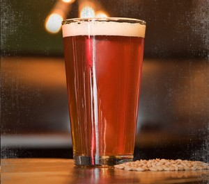 light amber beer filled pint glass