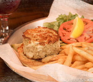 Crab Cake Sandwich and French Fries