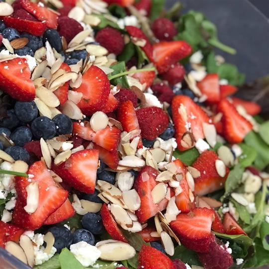 Strawberries, blueberries, almonds and lettuce
