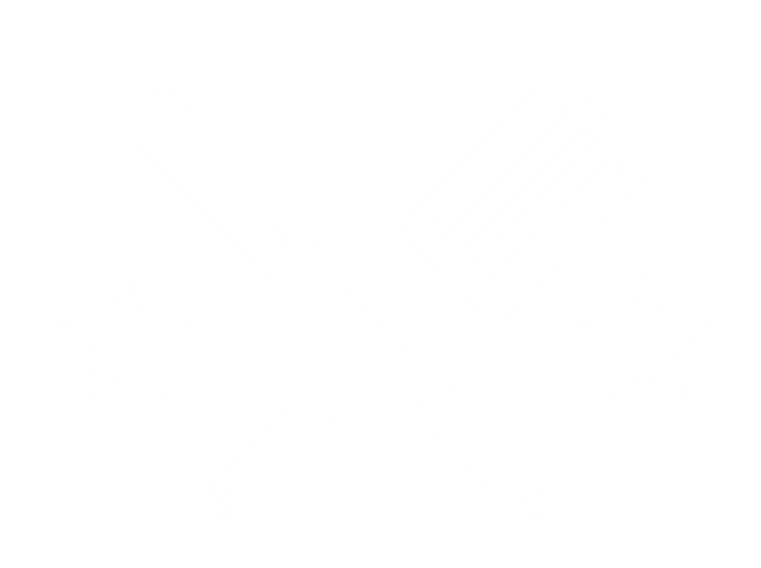 three dimensional drawing of a spatula and fork with two stars