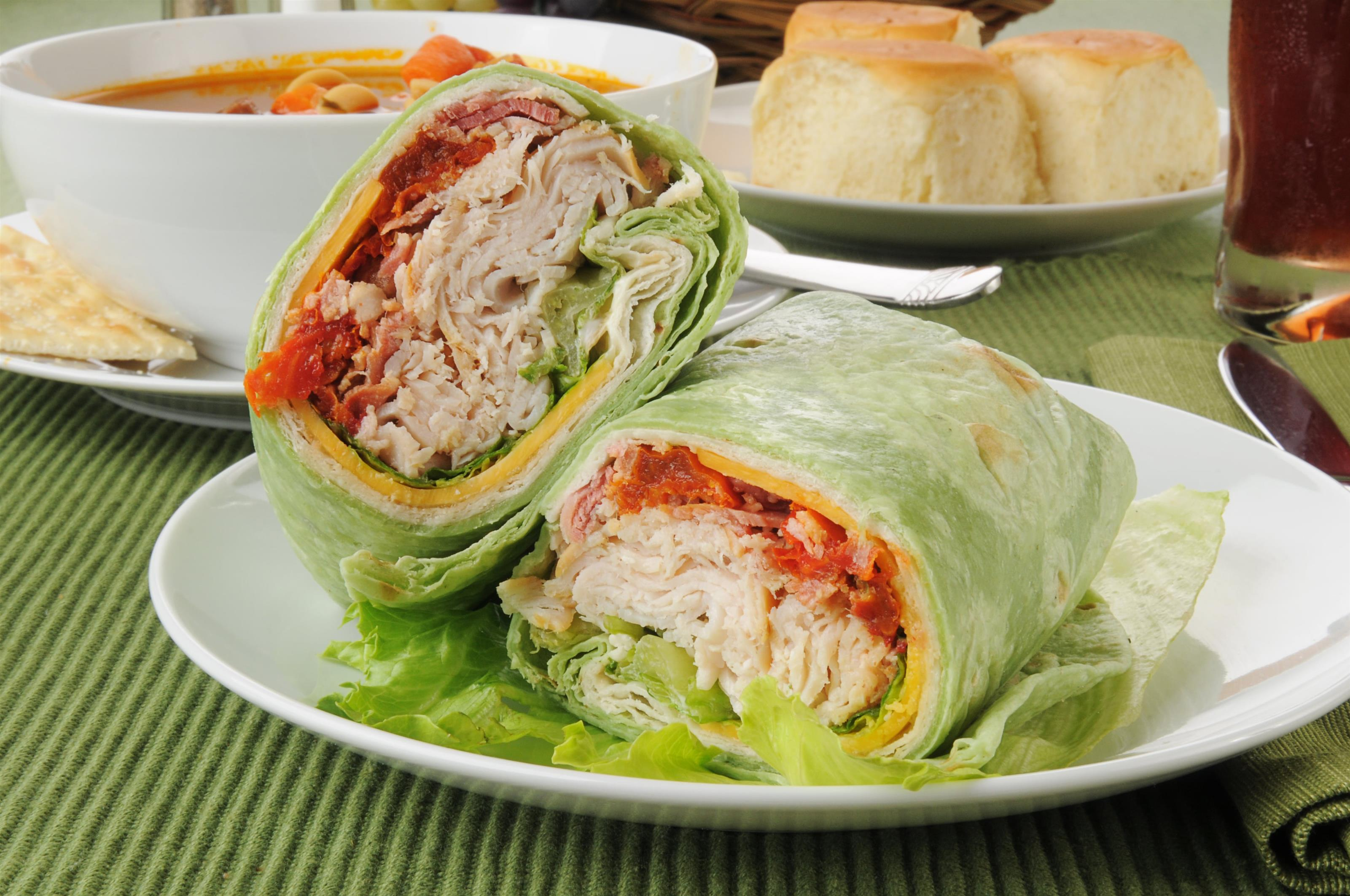 Lettuce wrap with turkey, cheese, sun dried tomato.