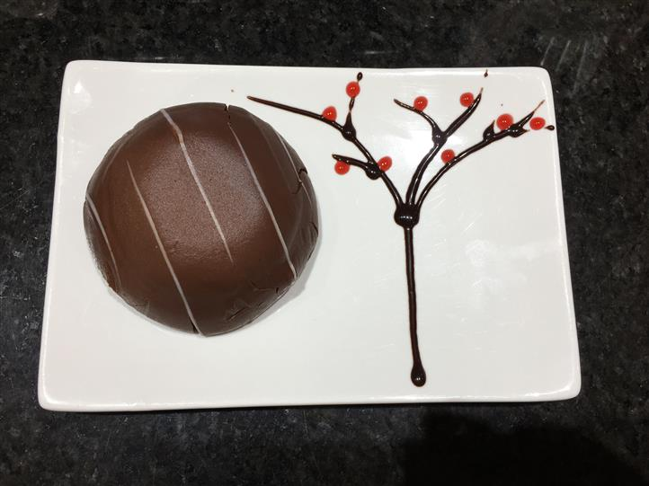 Chocolate dessert on dish with syrup design
