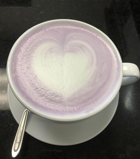 Cafe latte with heart design