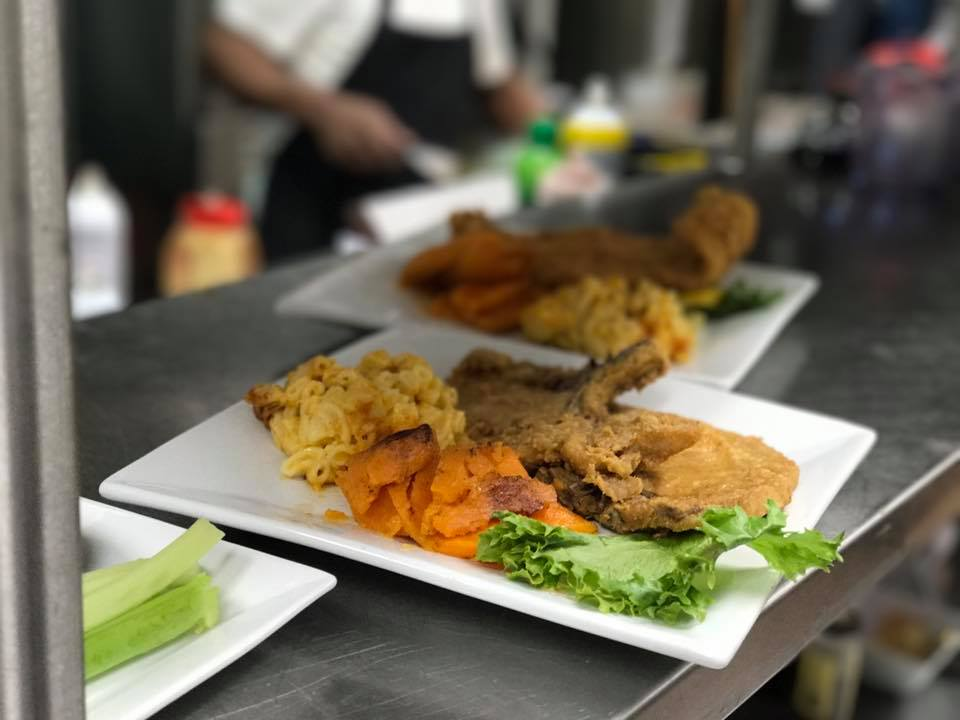 Fried Fish with mac and cheese and sweet potatoes