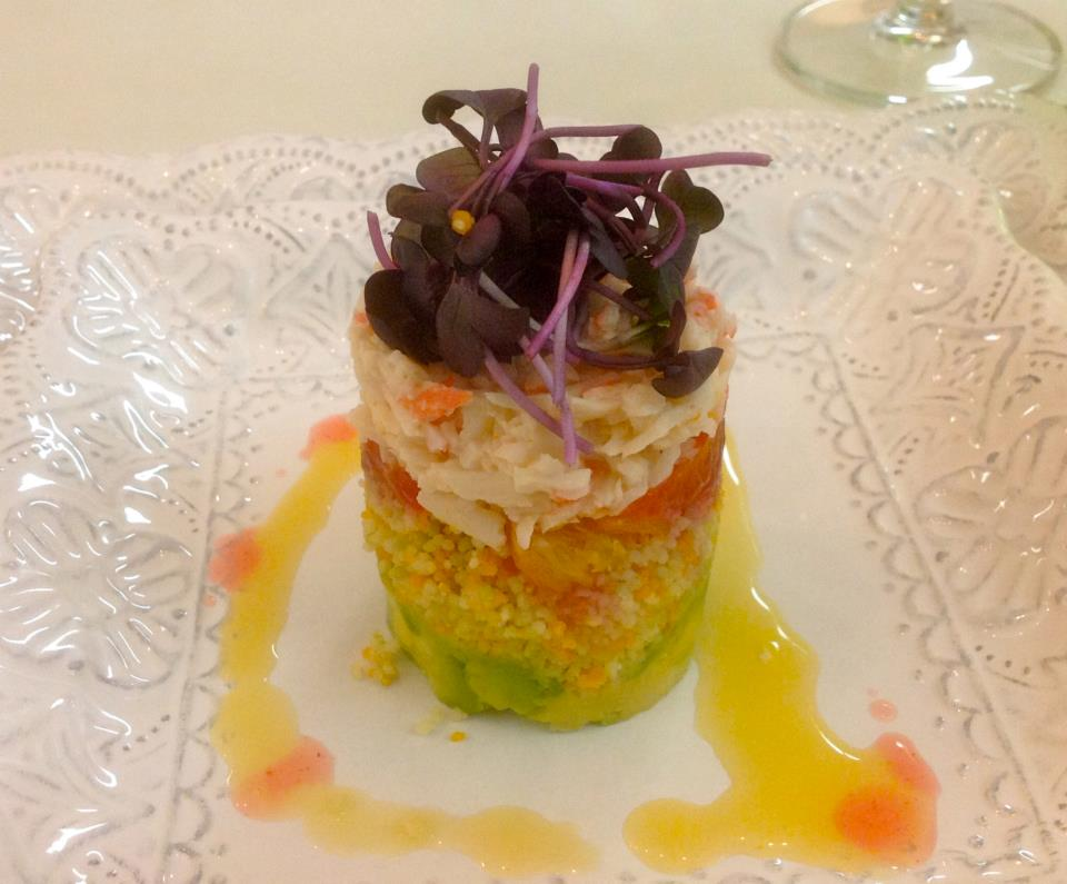 Seafood tower. Layers of crab, tuna, avocado and more