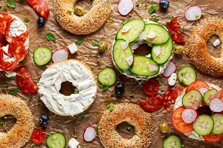 Assorted bagel spread with cream cheese, vegetables
