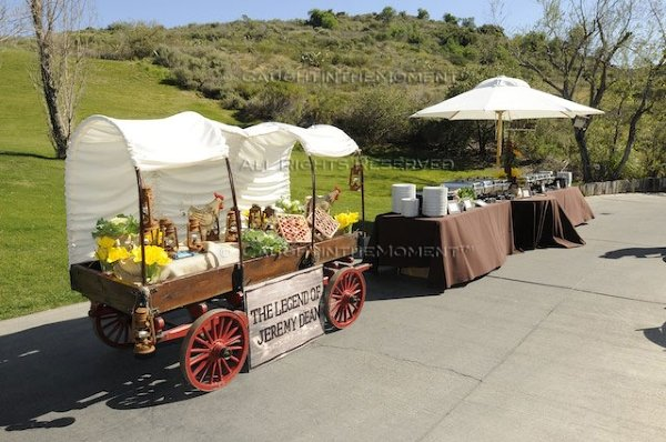 Wagon-themed catering displays outdoors