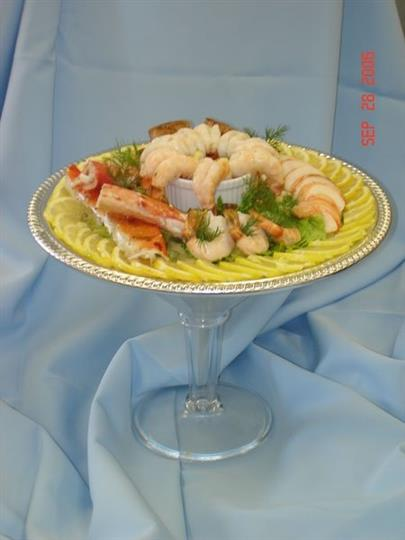 Shrimp and crab display on tray