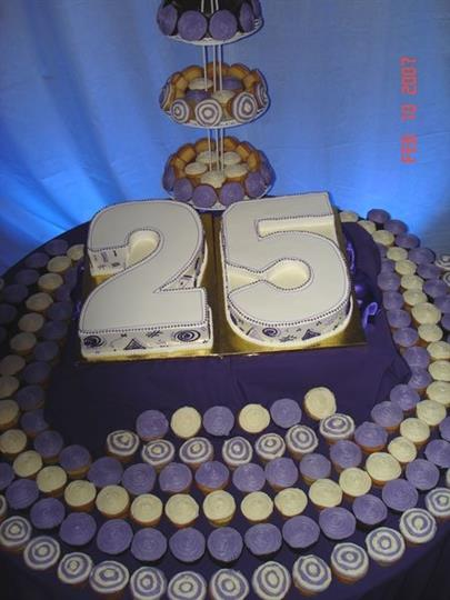 cake with number 25 surrounded by cupcakes