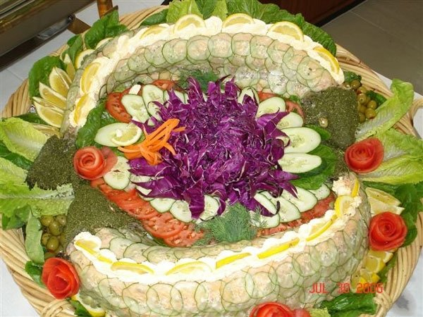 vegetable and dip spread on table