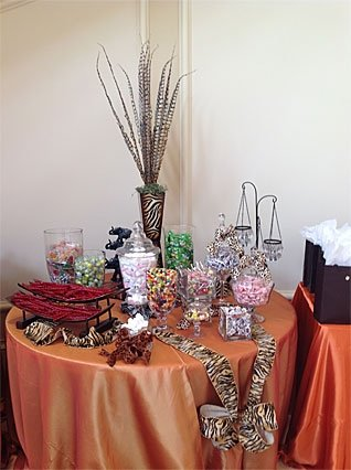 Variety of candy jars on table