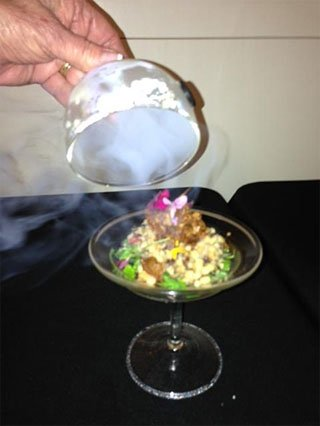 hors d'oeuvres in martini glass
