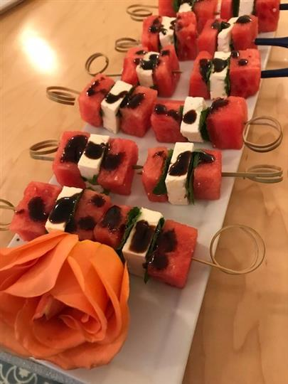 watermelon, feta, basil and balsamic skewers