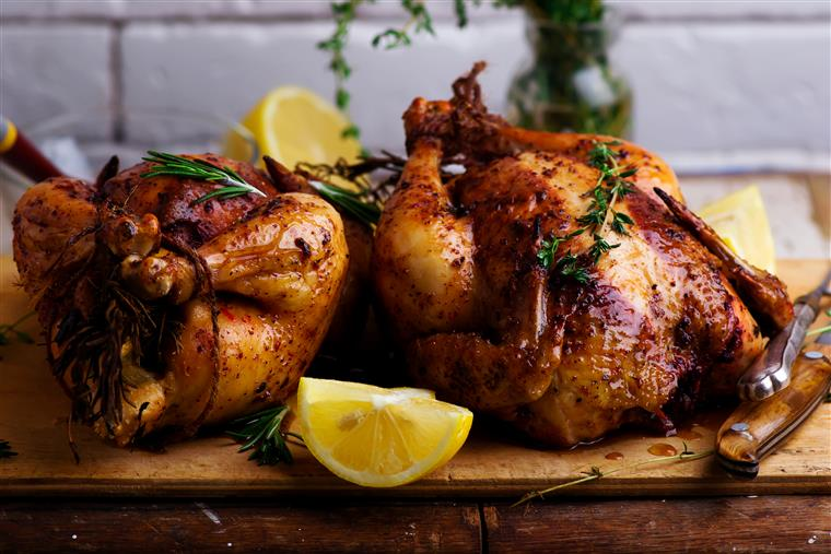 roasted turkey seasoned with herbs and lemons