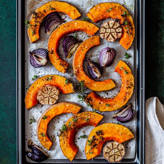 roasted butternut squash slices red onions