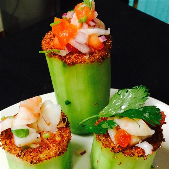 umbo shrimp, lime juice, serrano sauce, cucumber and red onion
