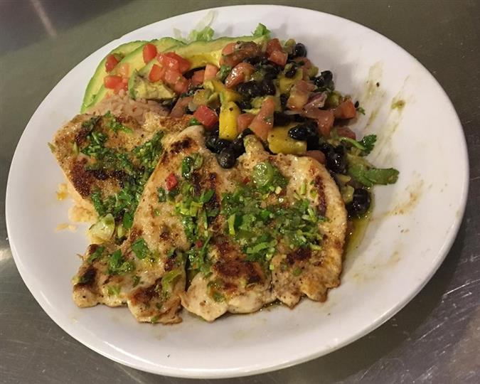 baked chicken with herbs and beans