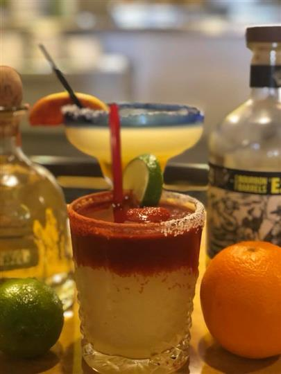 display of mixed cocktails together