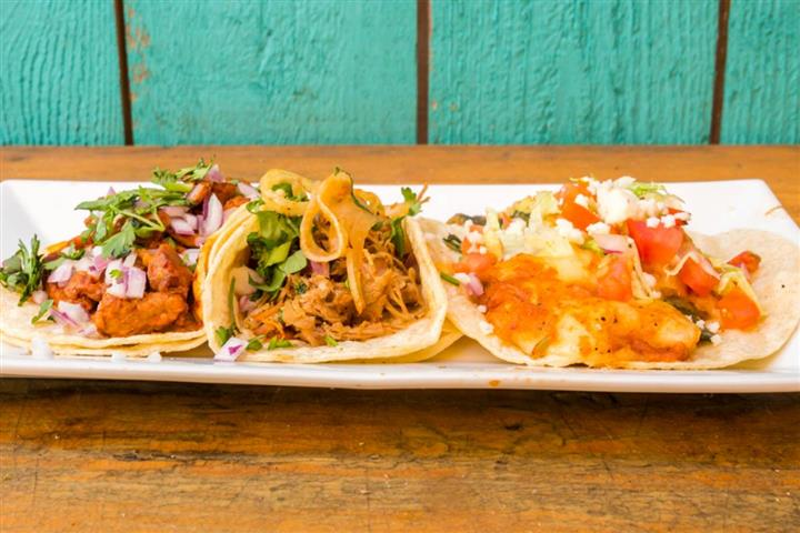 soft shell tacos on a plate