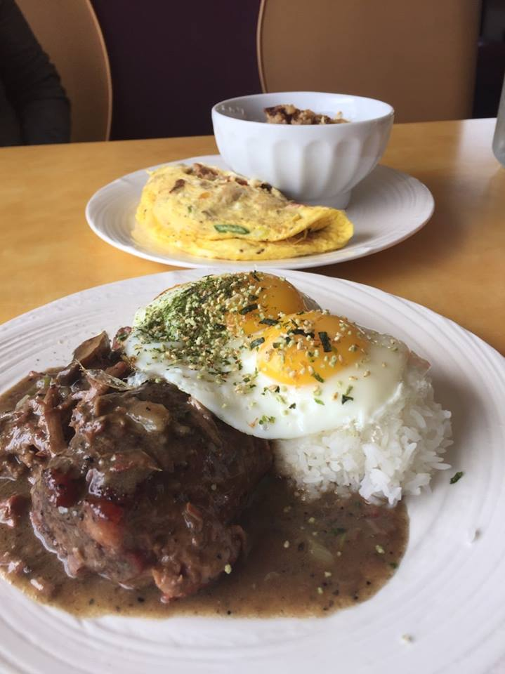 omelette dish and meat with egg dish