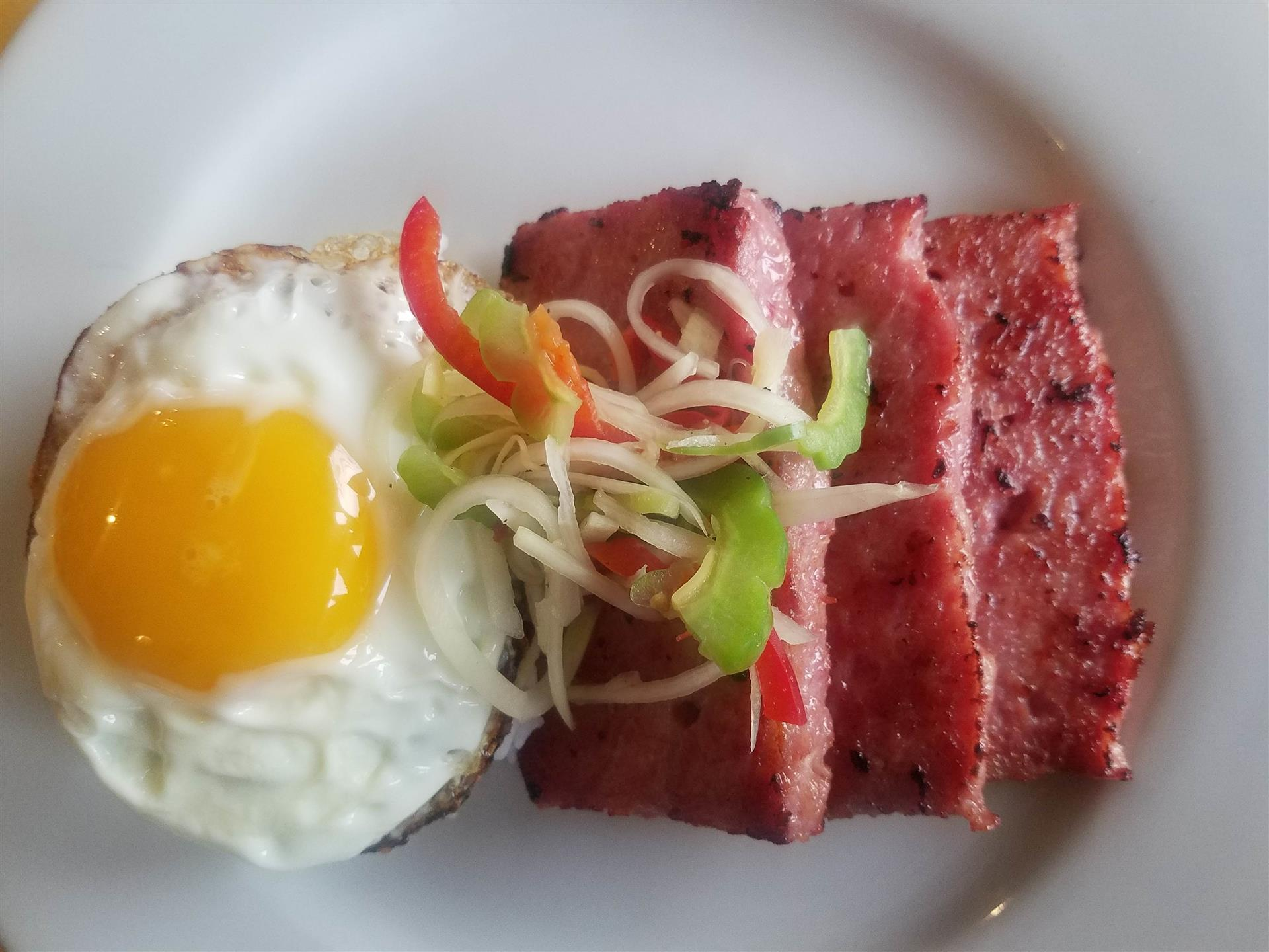 spam and a fried egg