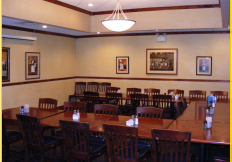 Interior of restaurant with tables and chairs