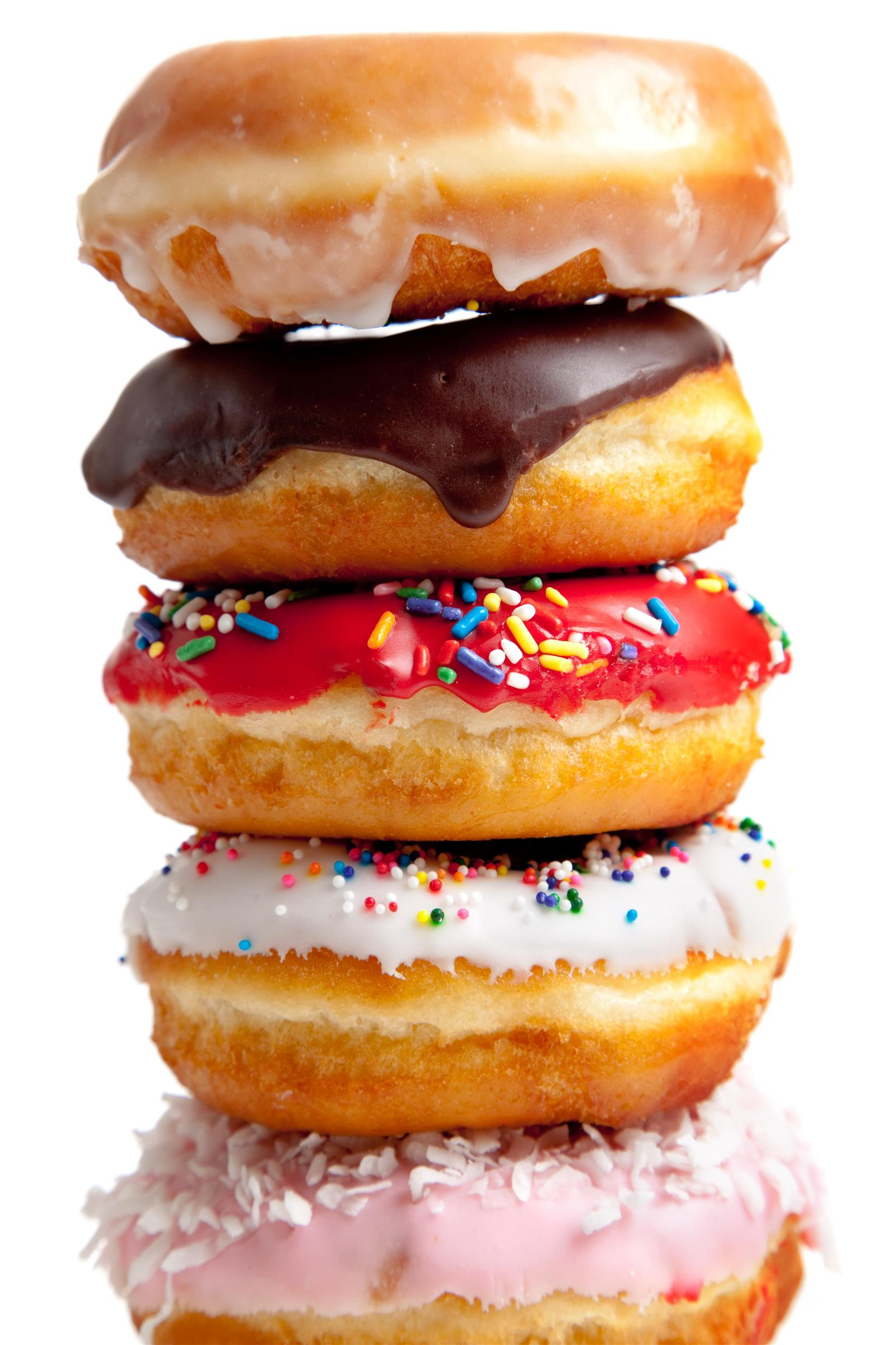 Assorted donuts stacked