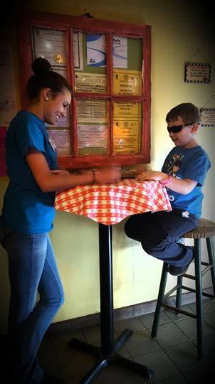Two people at table