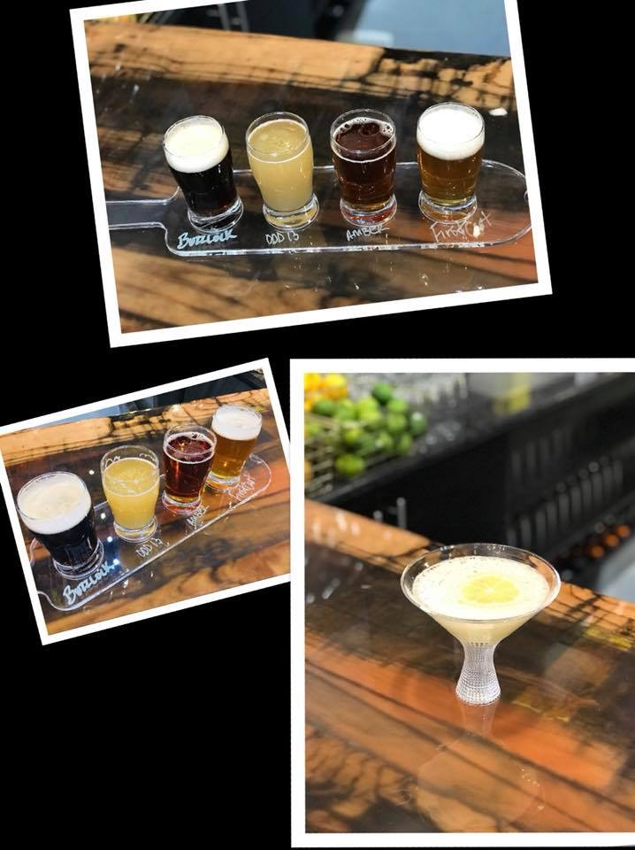 Beer flight samples and Ah-Mazing Lemon Drop Limoncello